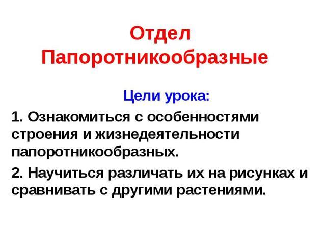Отдел Папоротникообразные - Студенческий портал