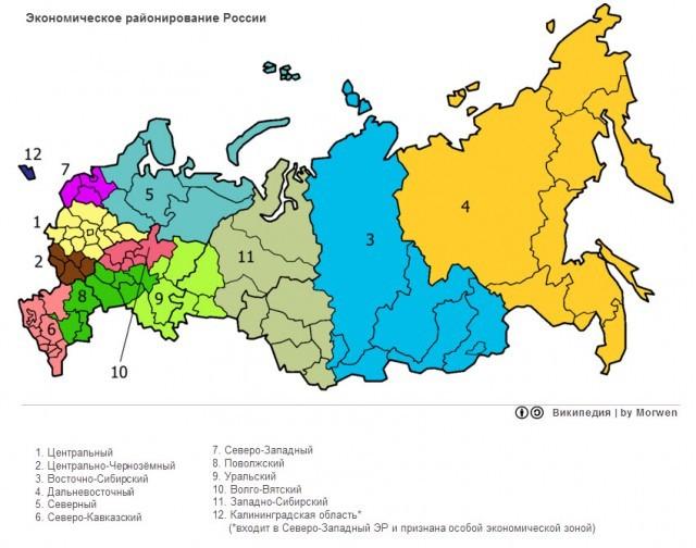 Экономическое районирование территории России - Студенческий портал