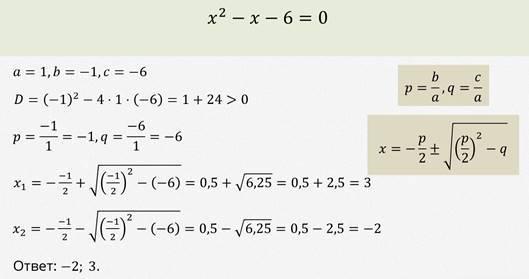 Решение квадратных уравнений. Теорема Виета - Студенческий портал