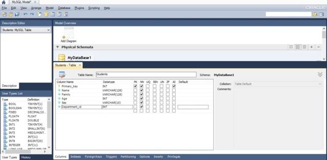 Команды создания схемы базы данных - Студенческий портал